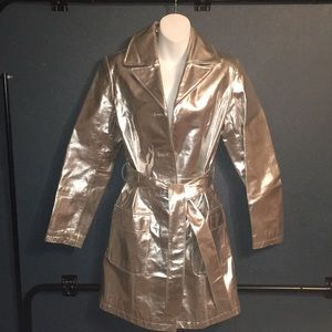 Silver leather belted jacket size small